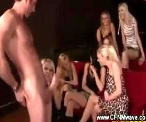 Partygirls Enjoy Watching A Live Handjob