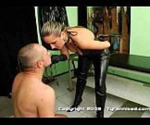 Brutal Mistress Spit Faceslap Strapon Guy