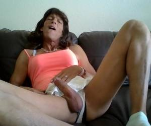 Tranny Can't Keep Her Hands Out Of Her Panties