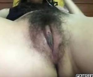 Tight Hairy Asian Pussy Close Up On Live Webcam