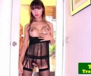 Lingerie Ladyboy Jerking Cock Until Cumshot