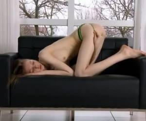 Ultra Skinny Pussy Opening On The Bigbed