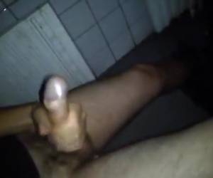 Youthful Guy Jerking At University