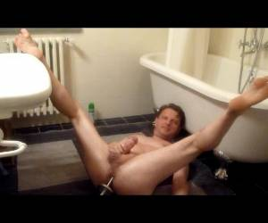 Wank With Toilet Brush In Ass ...