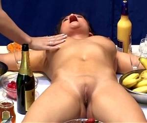 Lovely Hot Ass Porn Hotties In A Nasty Lesbian Food Adventure