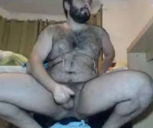 Hairy Bear Riding A Monster Dildo