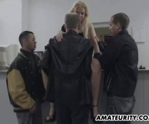 Skinny Blonde Satisfies Three Men And Gets Facialed In Gangbang Video