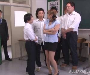 Horny Japanese Teacher In Miniskirt Gangbanged After Hot Blowjob