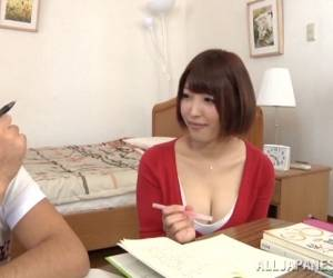 Short Haired Asian In Denim Miniskirt Banged By Bf In Bed