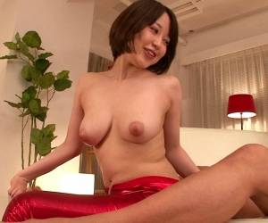 Flexible Asian Babe In Red Jumpsuit Sucking Cock In Gangbang