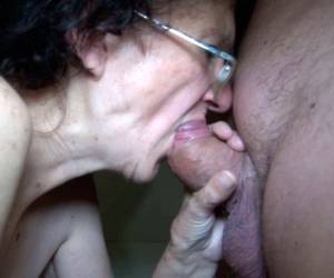 Nasty Granny In Glasses Gives Blowjob Sucking Shaved Cock