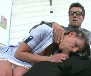 Pigtailed Chick Kylie Moore Gives Good Blowjob To Clothed Dude