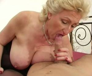 Nasty Blond Haired Granny With Big Boobs Gives Stout BJ To Her Boy