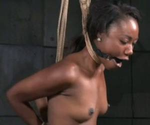 Ebony Porn Slut Chanell Heart Is Tied Up And Stretched In Porn Video