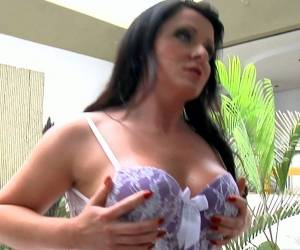 Bosomy Brunette Milf Gabriella Porttioli Puts On Leather Lingerie
