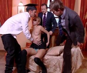 Double Penetration Pleasure For A Blonde Teen In A Gangbang