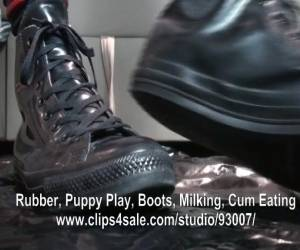Rubber Puppy Anal In Rubber Converse
