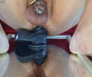 Cock Chastity With Huge Dildo Anal Ride
