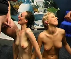 Blonde And Brunette Cuties Share Their Lust For Anal Sex And Warm Piss