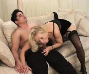 Hot Blonde Lady In Black Stockings Ami Charms Gets Fucked By A Young Guy