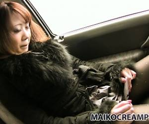 Mari Gets Warmed Up In The Car, Using The Vibrator On Her Pussy
