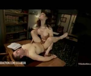Brunette Tranny Gives Handjob With Cumshot