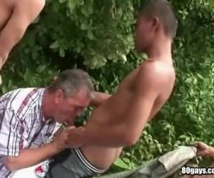Interracial Foresome Outdoor Blowjob