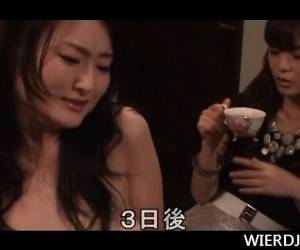 Japanese Orgy Tramp Humping Massive Stuck The  Table Dildo