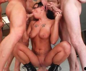 Used Whore Gets A Nasty Bukkake After Hardcore Gangbang