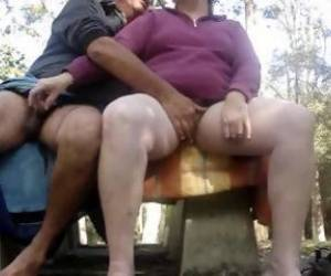 Indian Mature Couple Enjoy Eachother Genitals Outdoor In Park