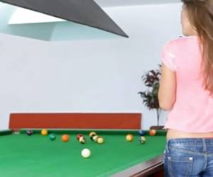 Sexy Teen Guerlain Strips Down On A Pool Table