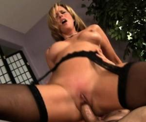 Buxom Mom In Black Stockings Jodi West Gets Fucks A Young Stud's Dick
