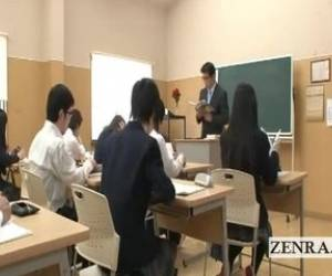 Nudist Invisible Japan Schoolgirl Class Strip Prank