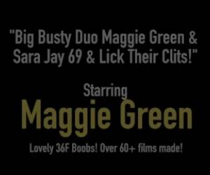 Big Busty Duo Maggie Green & Sara Jay 69 & Lick Their Clits!