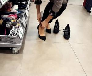 Shoe Shopping W My Fr, Her Nylon Feet Walking
