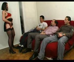 Amelie In Stockings Banged By 3 Guys