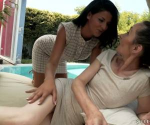 Serbian Babe Coco De Mal Can't Stop Eating Shaved Pussy Of One Old Lesbian