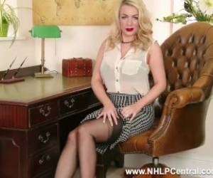 Penny Lee Strips Down To Her Sexy Lingerie And Sheer Black Vintage Nylons To Give You Expert Handjob Help