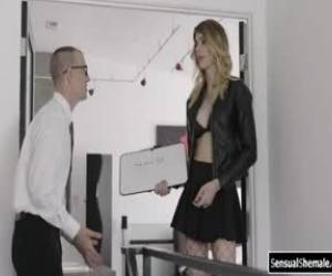 Nerd Assistant Buttfucked By His Tgirl Boss