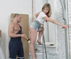 Connie Sparkle Painting Walls Is Interrupted By A Horny Dude