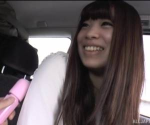 Long Haired Japanese Teen Brunette Sucks A Cock In A Car