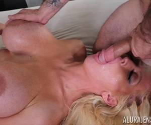 Busty Blonde MILF Slut Alura Jenson Deep Throats A Cock And Swallows