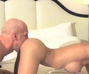 HiDef - Gorgeous Shemale Model Domino Gagging On A Massive White Cock