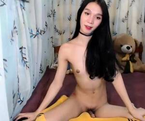 Shemale Solo Amateur Uses Toy To Masturbate