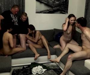 Samy Saint And Natalie Hot Enjoy Orgy On The Sofa With Their Friends