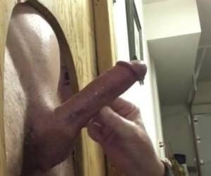Old Guy Sucks At His Homemade Gloryhole